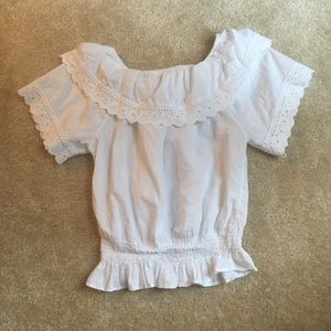 Tops - Lace and ruffle white crop top w/ elastic waist